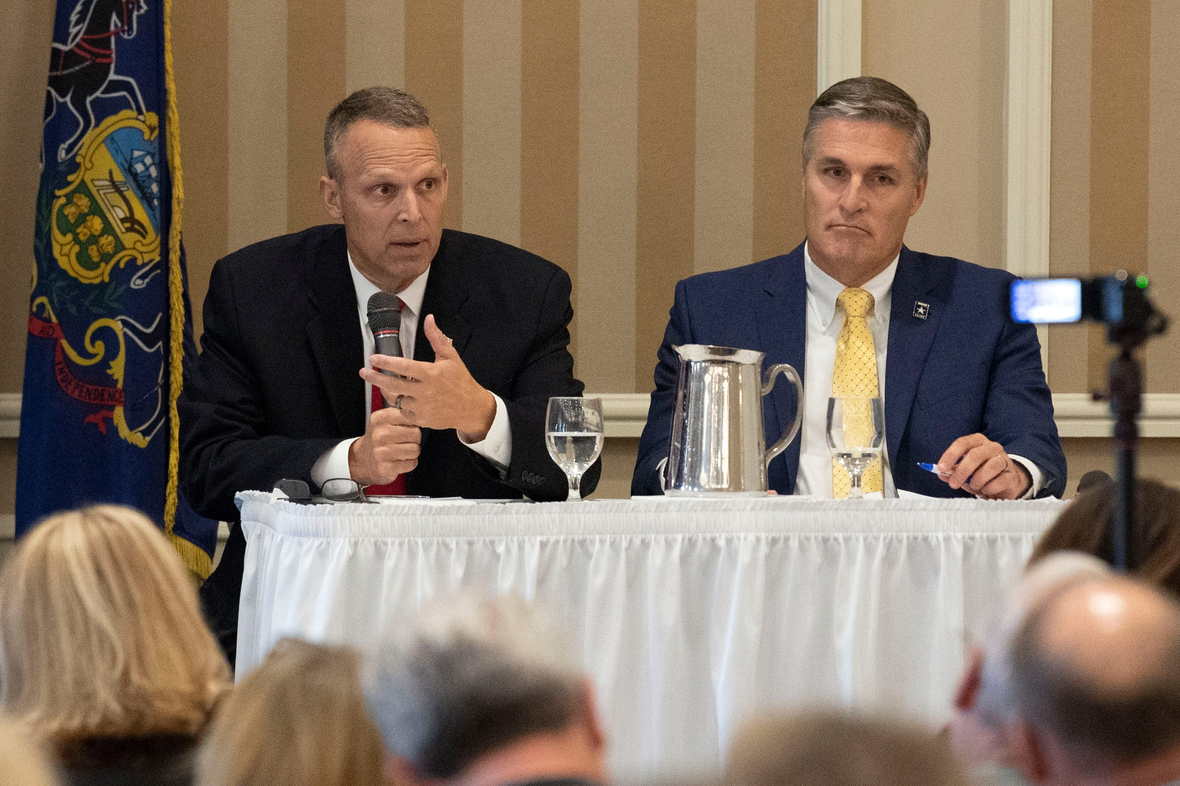 U.S. Rep. Scott Perry, R-York County, left, speaks during a debate against Democratic challenger George Scott at the Country Club of York on Wednesday, September 19, 2018. The 10th Congressional District boundaries encompass the cities of Harrisburg and York. The Supreme Court of Pennsylvania redrew the district in 2018 after ruling the previous map unconstitutional.