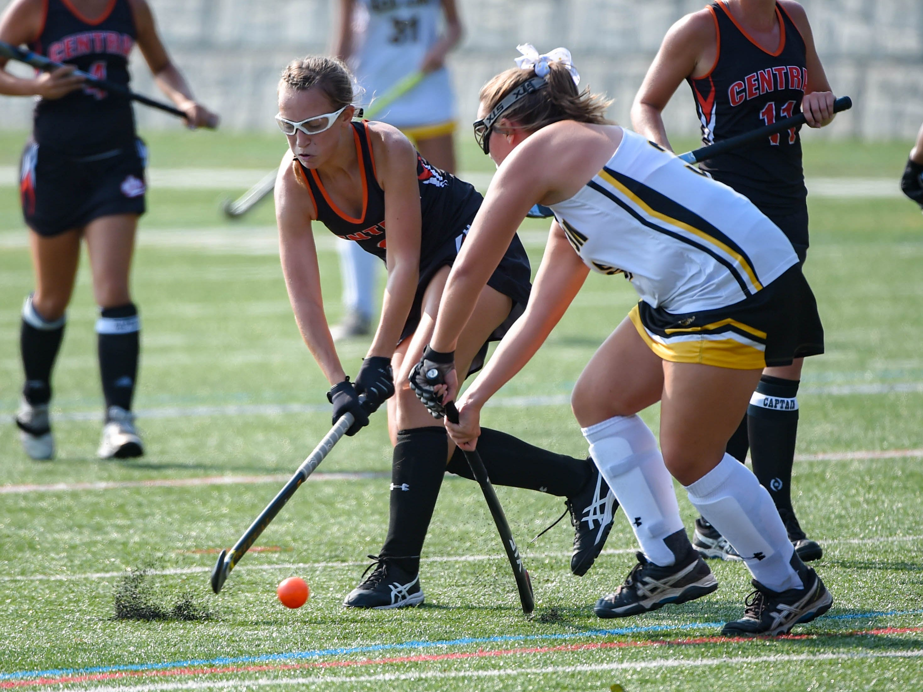 Central York's Grace Harrold (6) takes a shot during their game against Red Lion, Wednesday, September 19, 2018.
