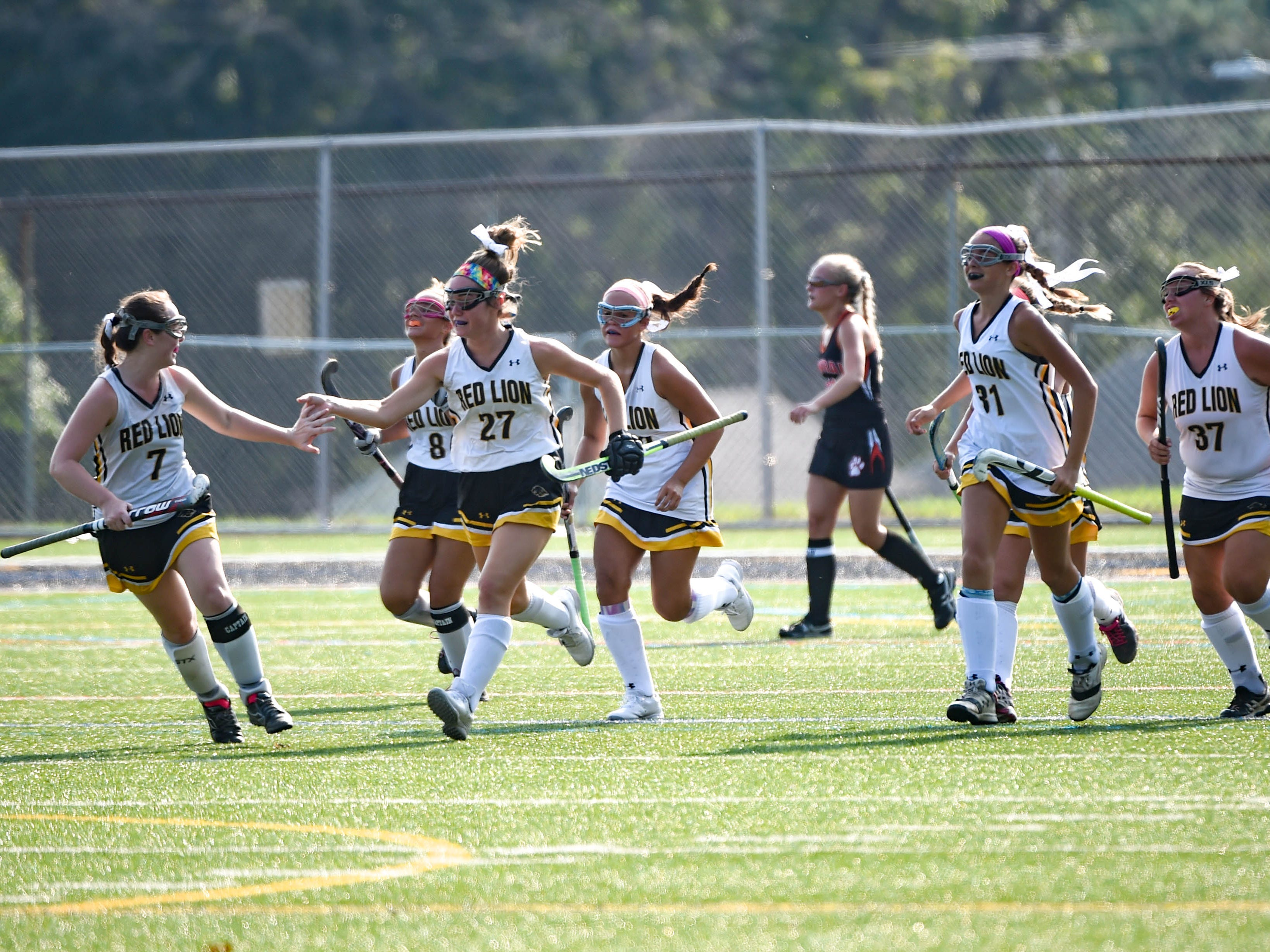 Red Lion celebrates after scoring a tough goal during the Division I girls field hockey game, Wednesday, September 19, 2018.
