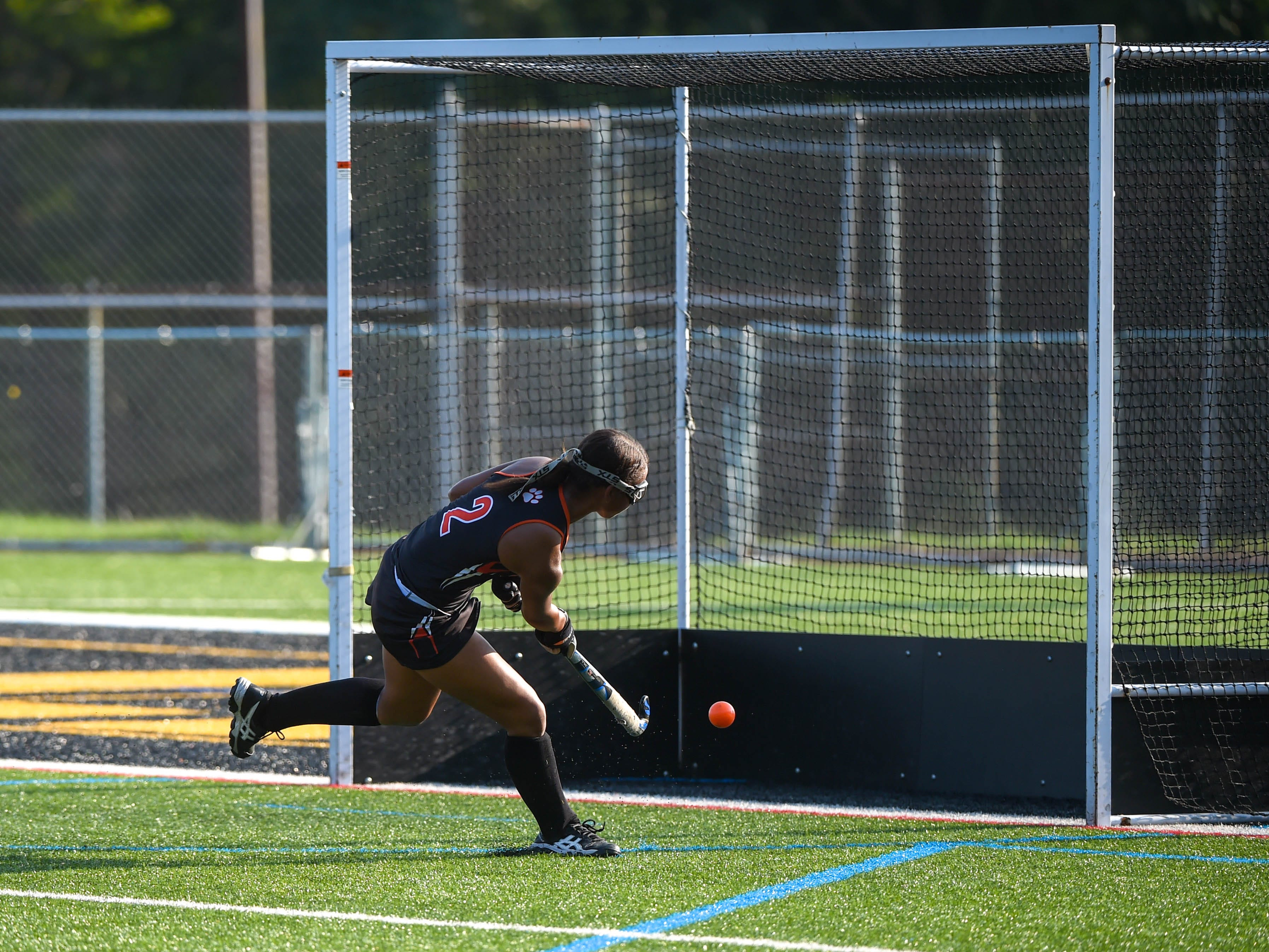 Victoria Whitehead (2) buries the shot, adding to Central York's lead over Red Lion, Wednesday, September 19, 2018.