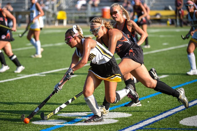 Jillian Sleeth (8) of Red Lion keeps control of the ball, Wednesday, September 19, 2018.