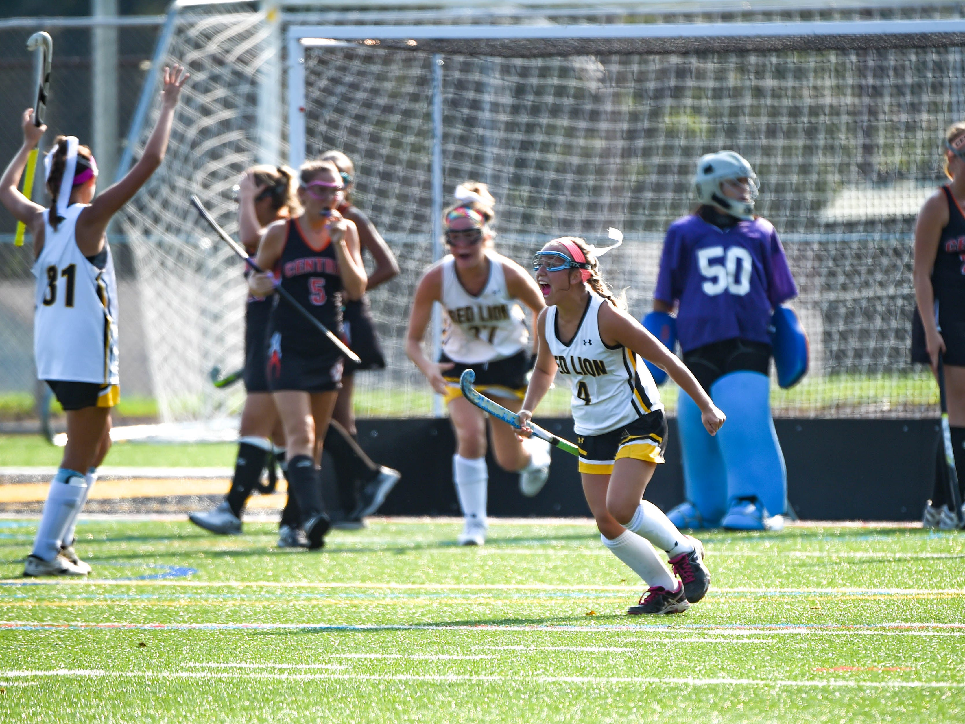 Emma Waltemyer (4) screams with joy as Red Lion ties the game, Wednesday, September 19, 2018.