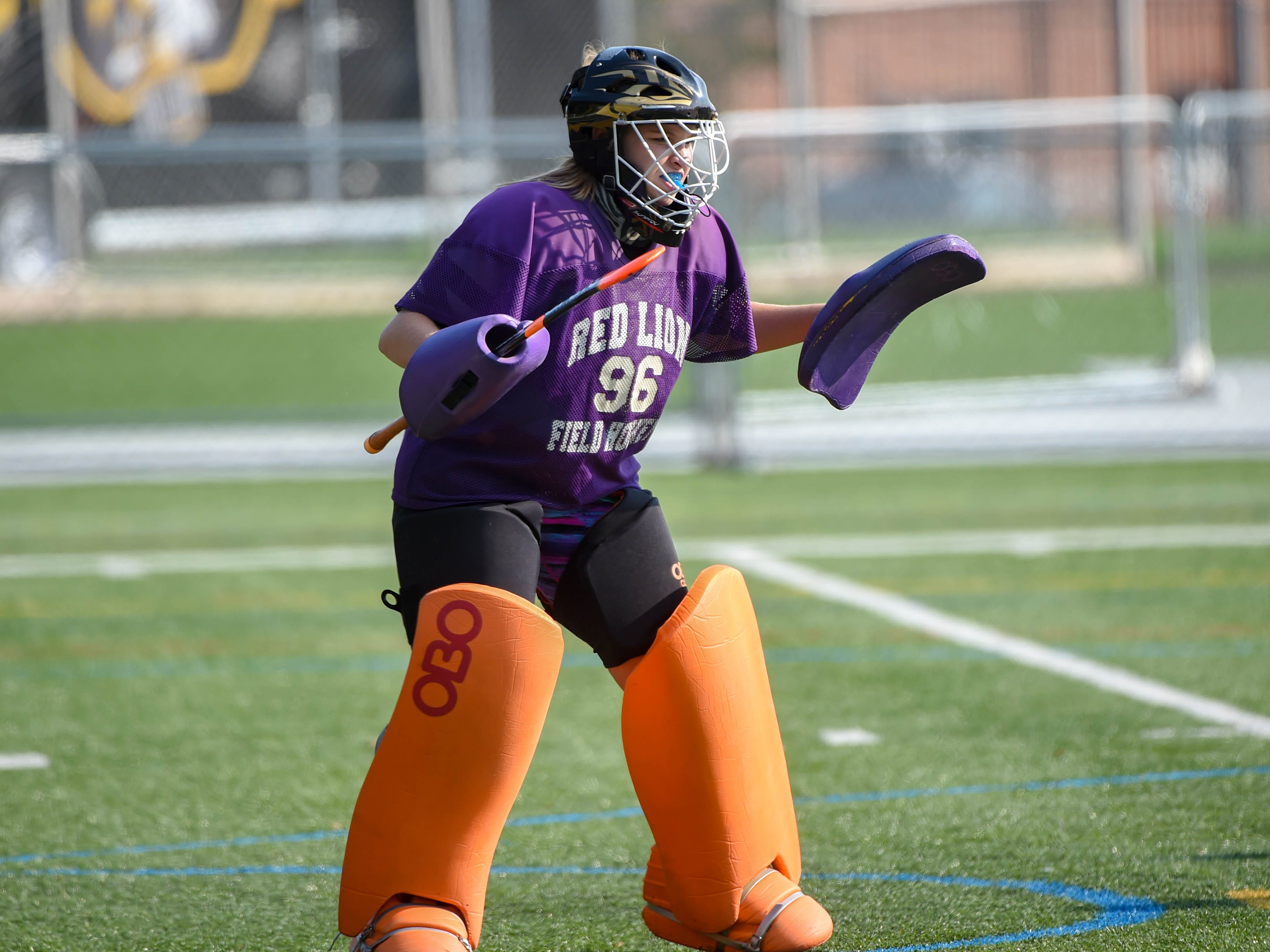 Allie Anderson (96) prepares to stop the attack during the Division I girls field hockey game between Red Lion and Central York, Wednesday, September 19, 2018.
