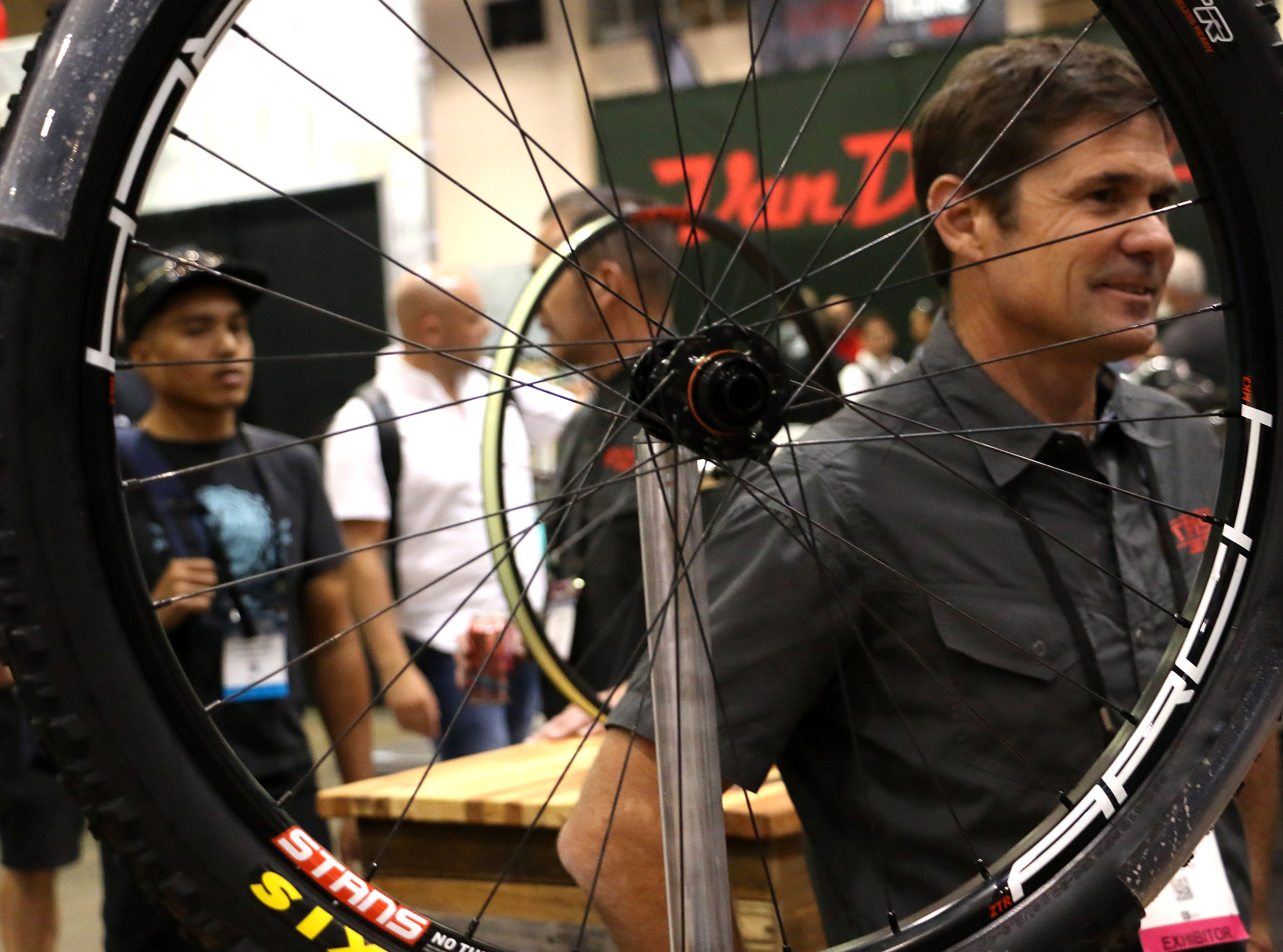 Attendees are seen art the Interbike Expo at the Reno-Sparks Convention Center in Reno on Sept. 19, 2018.