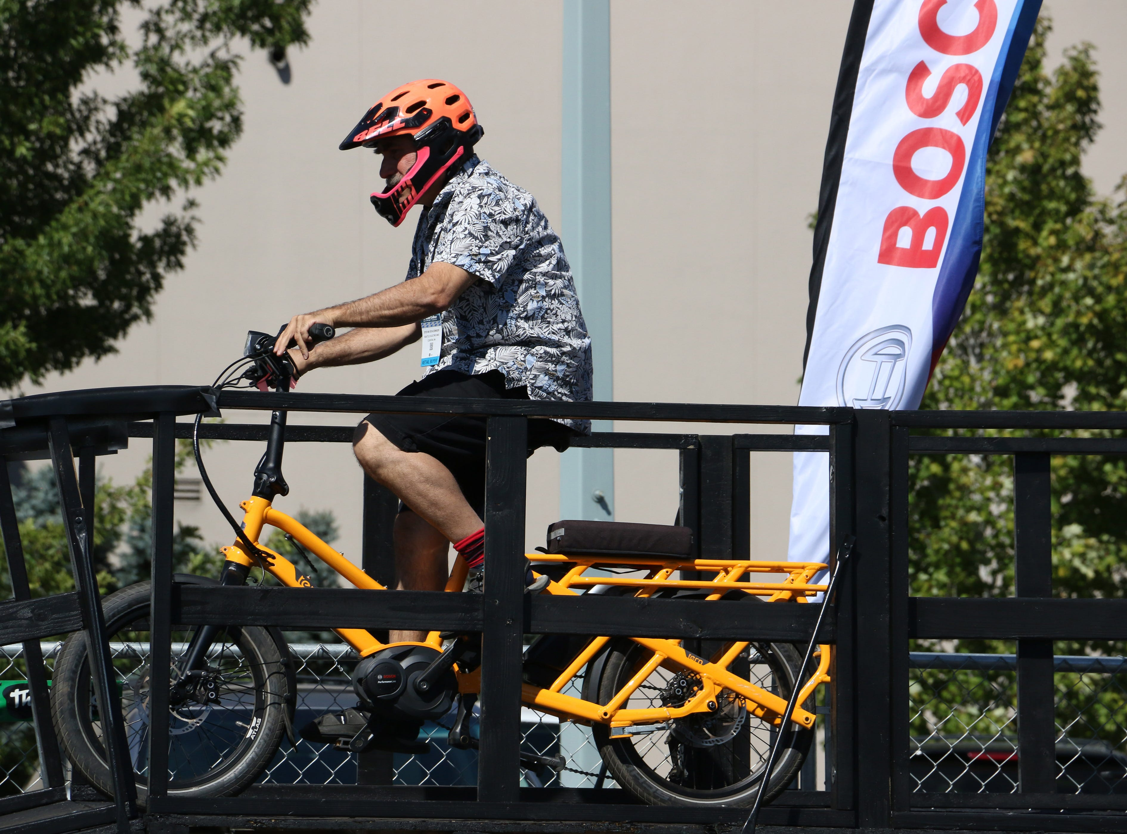 A person demos an e-bike at the Interbike Expo at the Reno-Sparks Convention Center in Reno on Sept. 19, 2018.