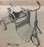G.W. Davis produced the Seahorse riding real lawn mower in 1955.