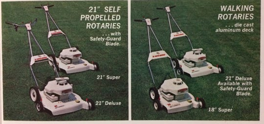 Moto-Mower offered a variety of self-propelled and walking rotary mowers in its 1964 line.
