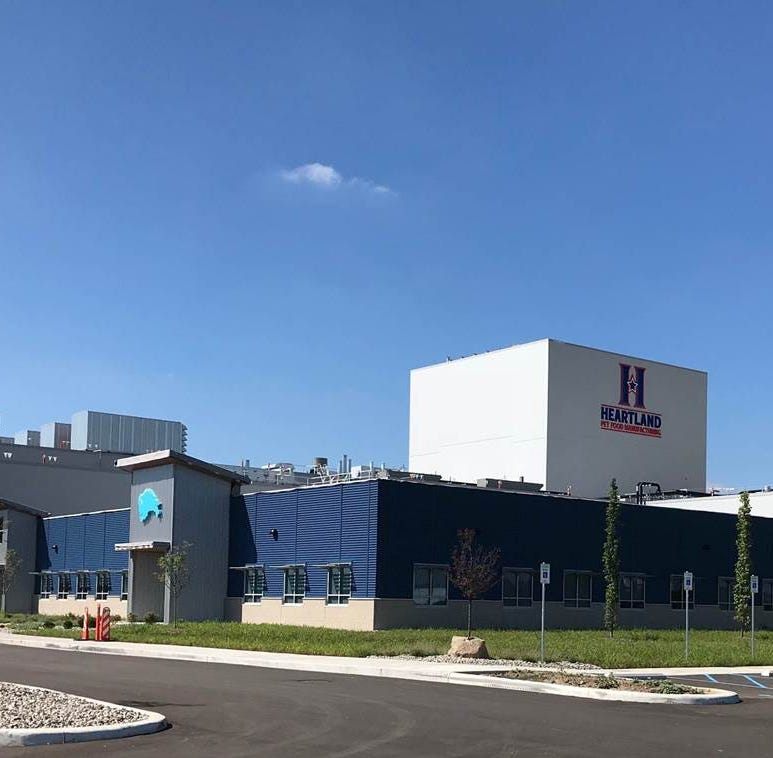 The front of the Blue Buffalo/Heartland Pet Food Manufacturing facility in Richmond, Ind., is seen in an undated photo from late 2018 provided by the company.