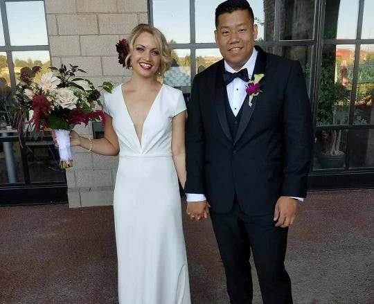 Hannah Lonsberry and Richard Chen at their wedding.