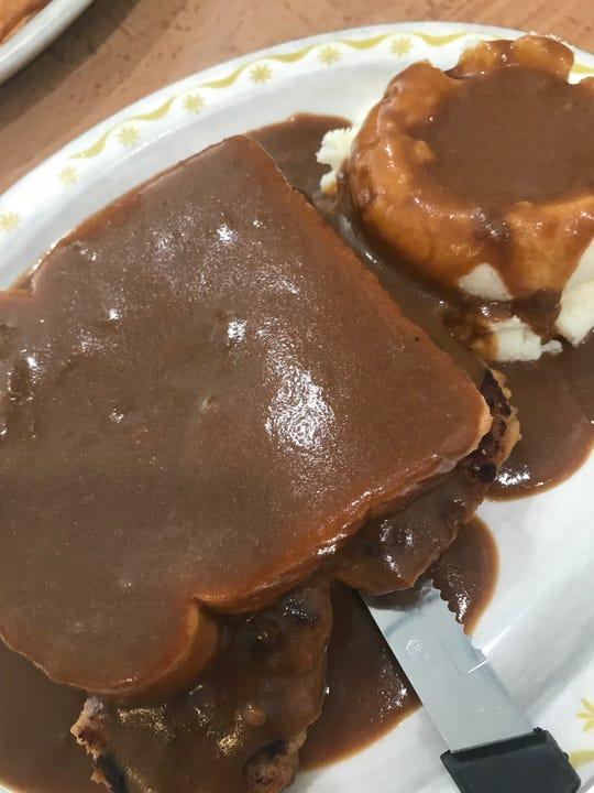 The meatloaf platter at Village Restaurant in Avon.