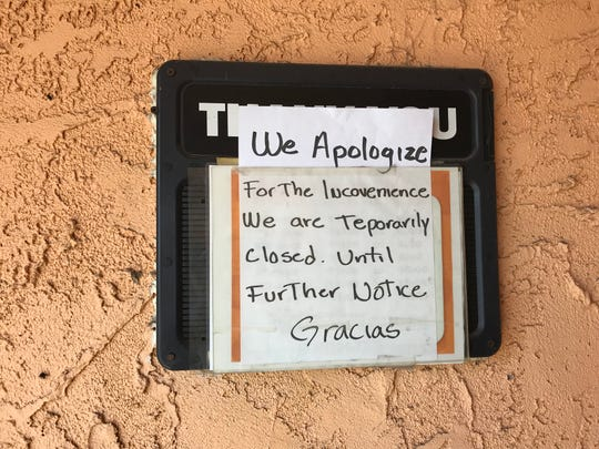 A sign at the entrance to Casa Ramos restaurant in Redding Wednesday.