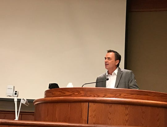 Todd Franklin, developer of The Park food truck hub in Redding, speaks before the City Council on Tuesday, Sept. 18, 2018,