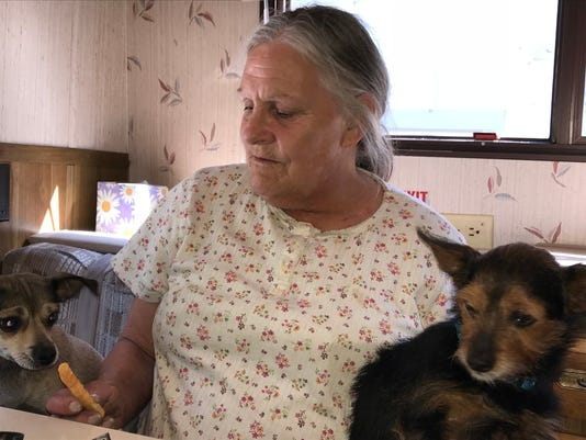 Lynn Adams and her dogs in her new trailer.