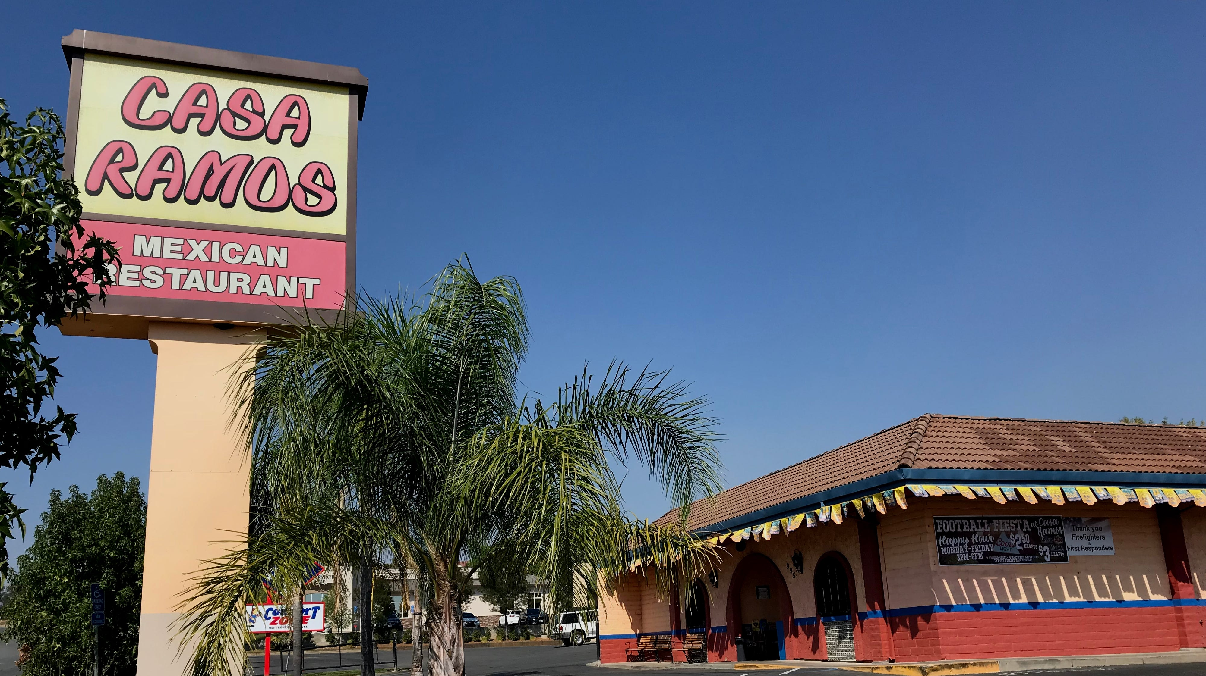 Casa Ramos restaurant off Hilltop Drive in Redding was closed and deserted Wednesday afternoon.