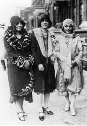Edith Scott, Louise Swain, and Helene Corbin on Seventh Avenue in Harlem, 1927.