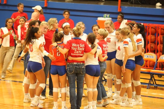 The San Angelo Central High School volleyball team helped raise funds for former student Zachary Sutterfield, who was severely burned in a San Marcos fire this summer. The Lady Cats swept Abilene High in three sets in District 3-6A play.