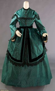 A printed silk polonaise dress from 1868 will be seen at the Inside-Out exhibit.