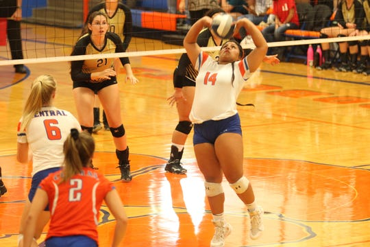 San Angelo Central High School's Veronica Guerrero sets the ball during a District 3-6A volleyball match against Abilene High at Babe Didrikson Gym on Tuesday, Sept. 18, 2018.