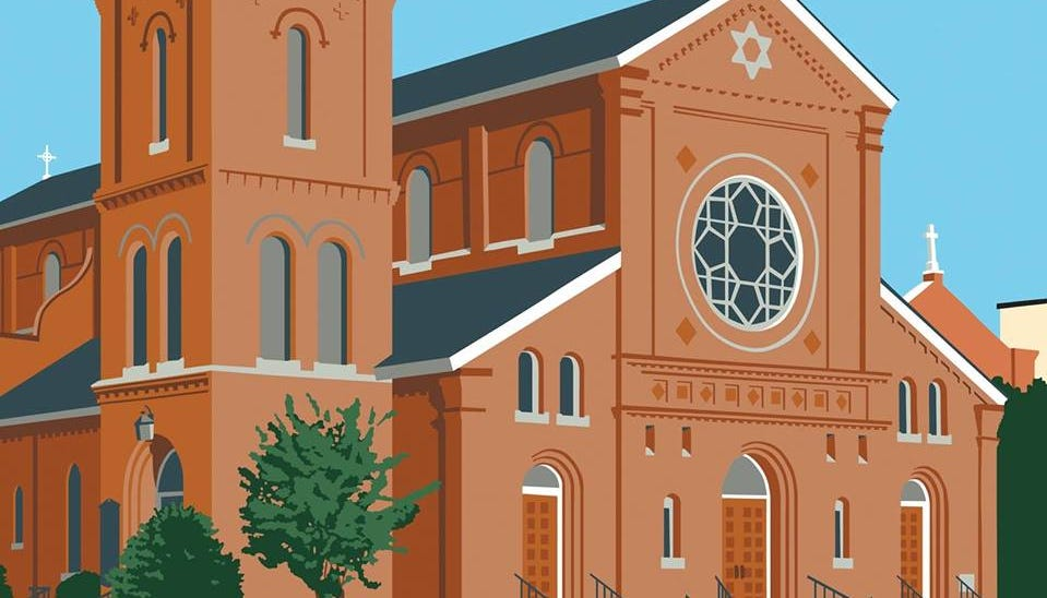 Erick Sahler created this seriograph for the 250th anniversary of St. Peter's Episcopal Church.