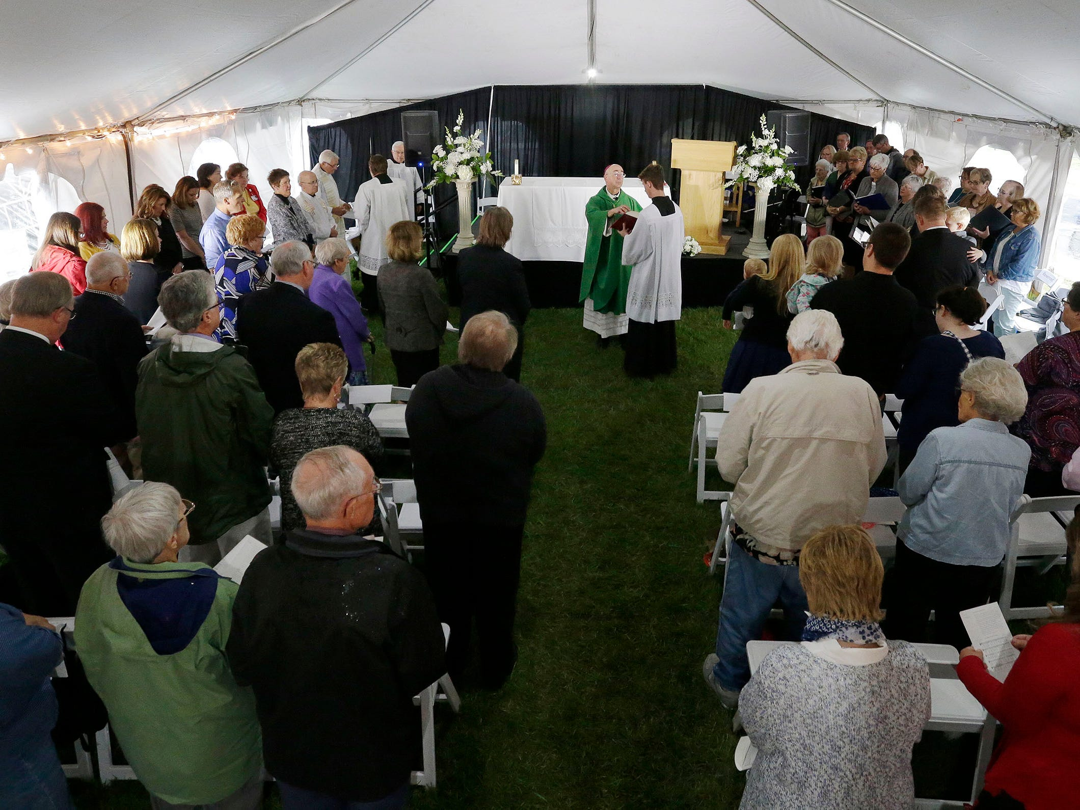 An overall at the Mass of Celebration at HSHS St. Nicholas Hospital for the new CEO Justin Selle, Wednesday, September 19, 2018, in Sheboygan, Wis.