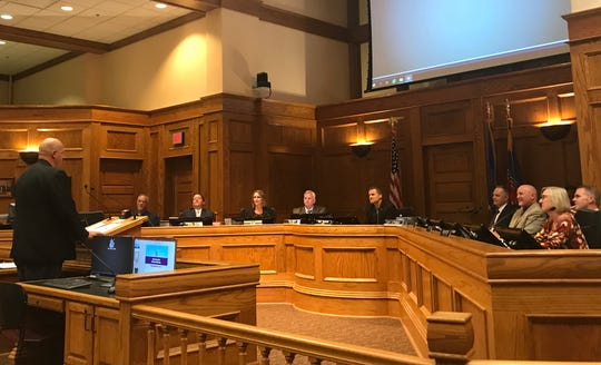 Jason Reisdorfer addresses the Sioux Falls City Council prior to his confirmation as the city's first-ever director of Innovation and Technology.