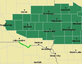 A flash flood watch will begin at 7 p.m. Wednesday for parts of South Dakota and Minnesota.