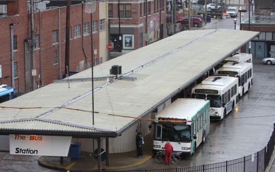 A 2011 photo of City Utilities' Park Central Terminal bus station in downtown Springfield. The .35-acre property has been owned by McDaniel Parking LLC since early 2017 and now has about 40 parking stalls available for monthly rental. CU Transit hasn't used the property since May 2016, when it opened a new, larger $4.4 million transit center several blocks away.