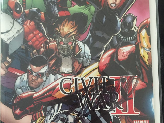 """Nicholas Pappas said this """"Civil War II"""" comic book, signed by Stan Lee, was one of the stolen items he recovered."""