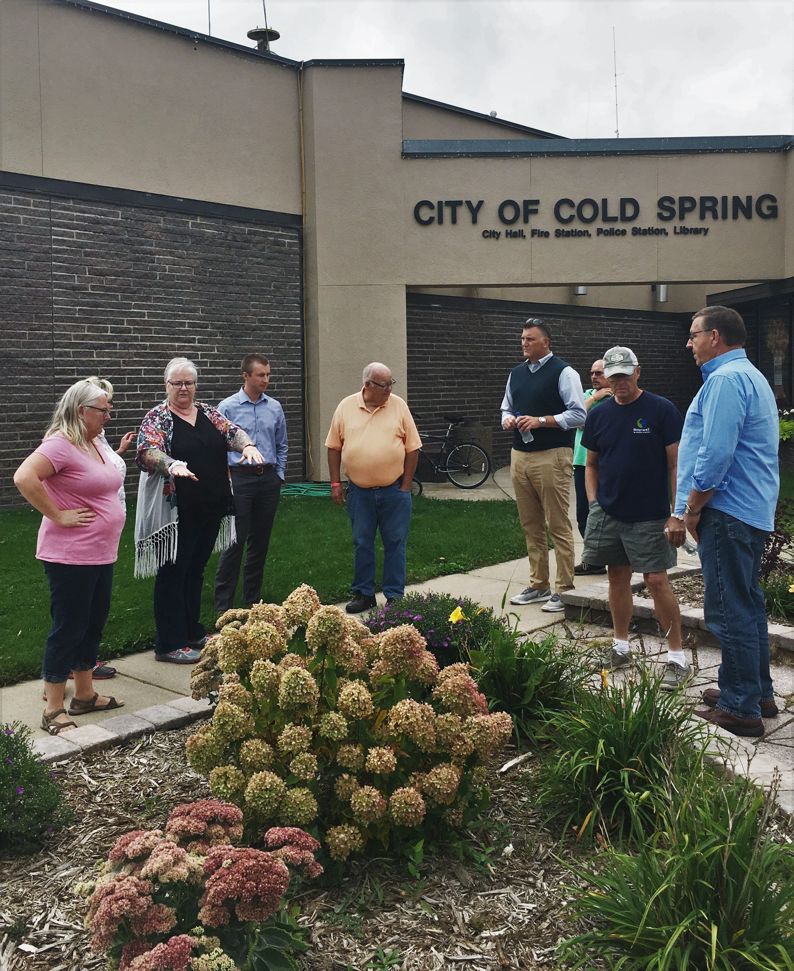 A group toured downtown Cold Spring with Deb Brown, a nationally-known community development specialist, on Friday, Sept. 14, 2018. Brown suggested recruiting master gardeners to help tend to community property.