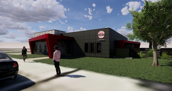 Renderings show changes to the old St. Joseph City Hall building that will become the new home of Bad Habit Brewing in 2019.