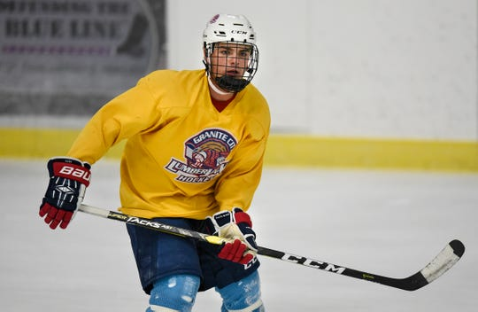 Noah Bissett concentrates during a drill at practice Tuesday, Sept. 18, at Sports Arena East in Sauk Rapids.