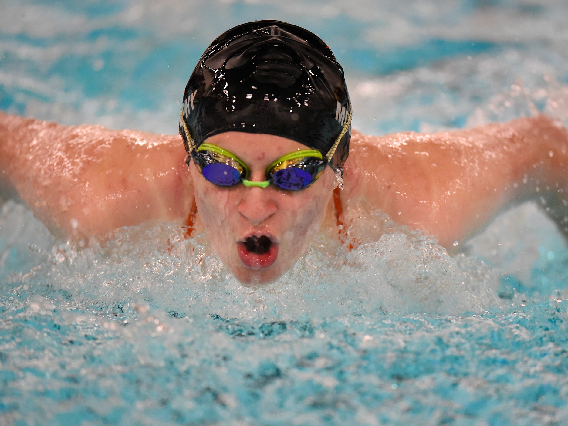 Alaina Murphy powers through her swim during the Tuesday, Sept. 18 meet against Buffalo at Tech High School in St. Cloud.