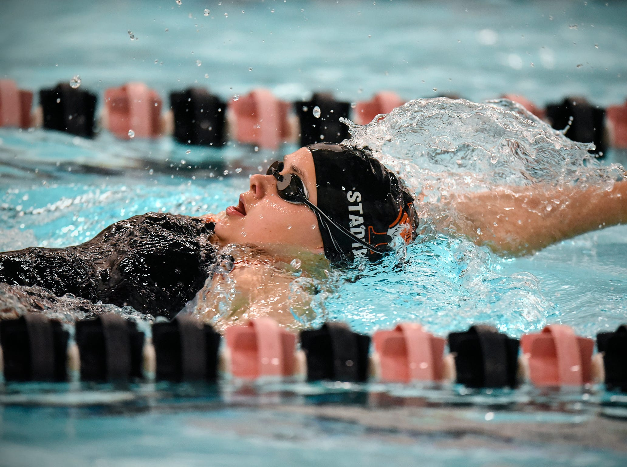 Tech's Olivia Stadther competes during the Tuesday, Sept. 18 meet against Buffalo at Tech High School in St. Cloud.