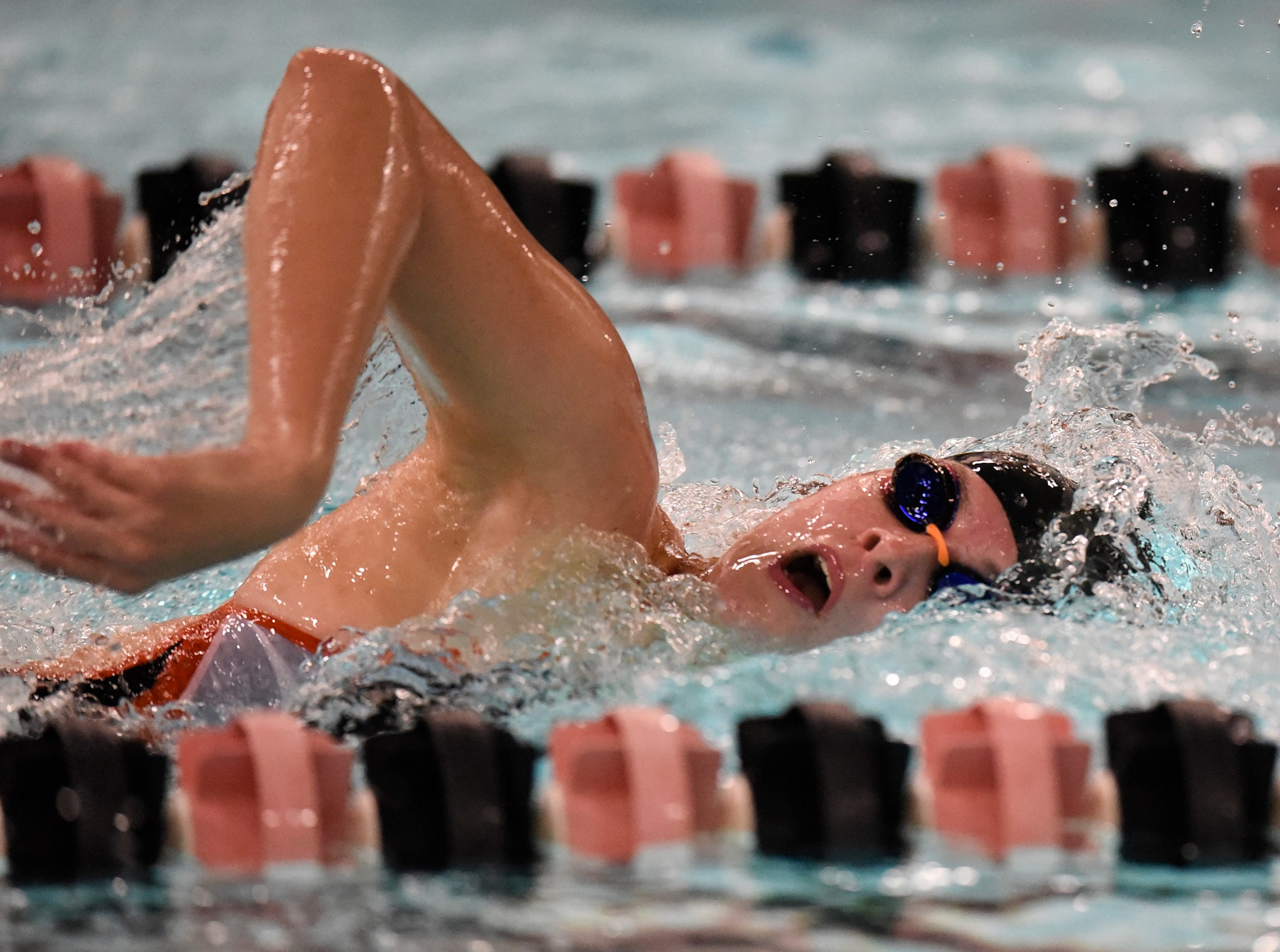 Emma Hoffmann competes during the Tuesday, Sept. 18 meet against Buffalo at Tech High School in St. Cloud.