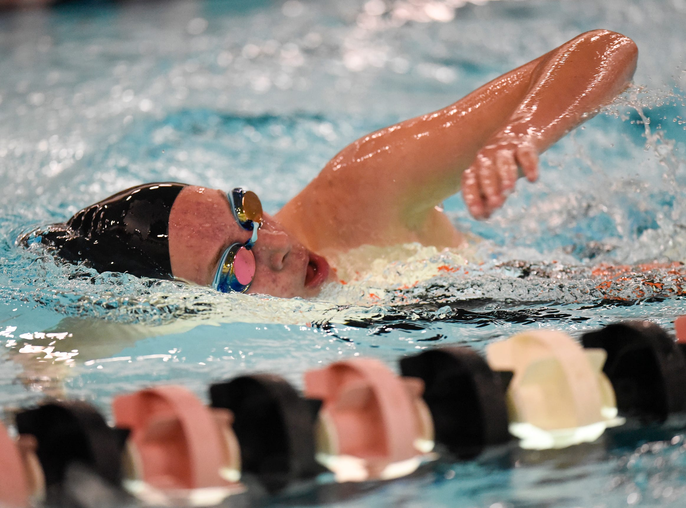 Brielle Tesmer swims during the Tuesday, Sept. 18 meet against Buffalo at Tech High School in St. Cloud.