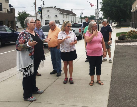 A group toured downtown Cold Spring with Deb Brown, a nationally-known small town economic development guru, on Friday, Sept. 14, 2018. Brown asked the group how the City Hall parking lot could be improved.