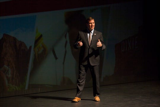 DSU President Richard Williams, speaks to students and community members at the state of the university address Wednesday, Sept. 19, 2018.