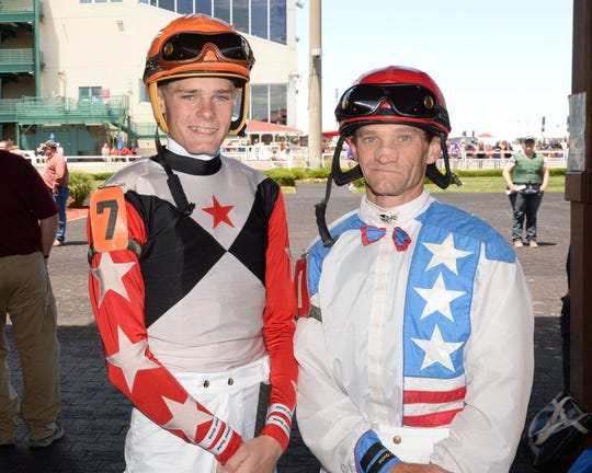 Jockey Alex Birzer (right) and his son Brett Birzer (left). Brett followed in his father's footsteps to become a jockey before he outgrew his riding career.