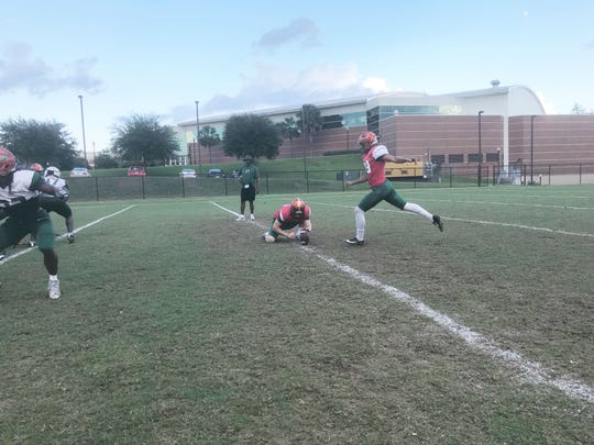 Kicker Yahia Aly lines up for a field goal in practice. He hopes to return to his form in week one when he was perfect on all attempts.