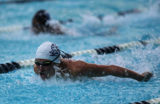 Maclay's Ryan Rumana swims butterfly in the 200 IM during a recent swim meet.