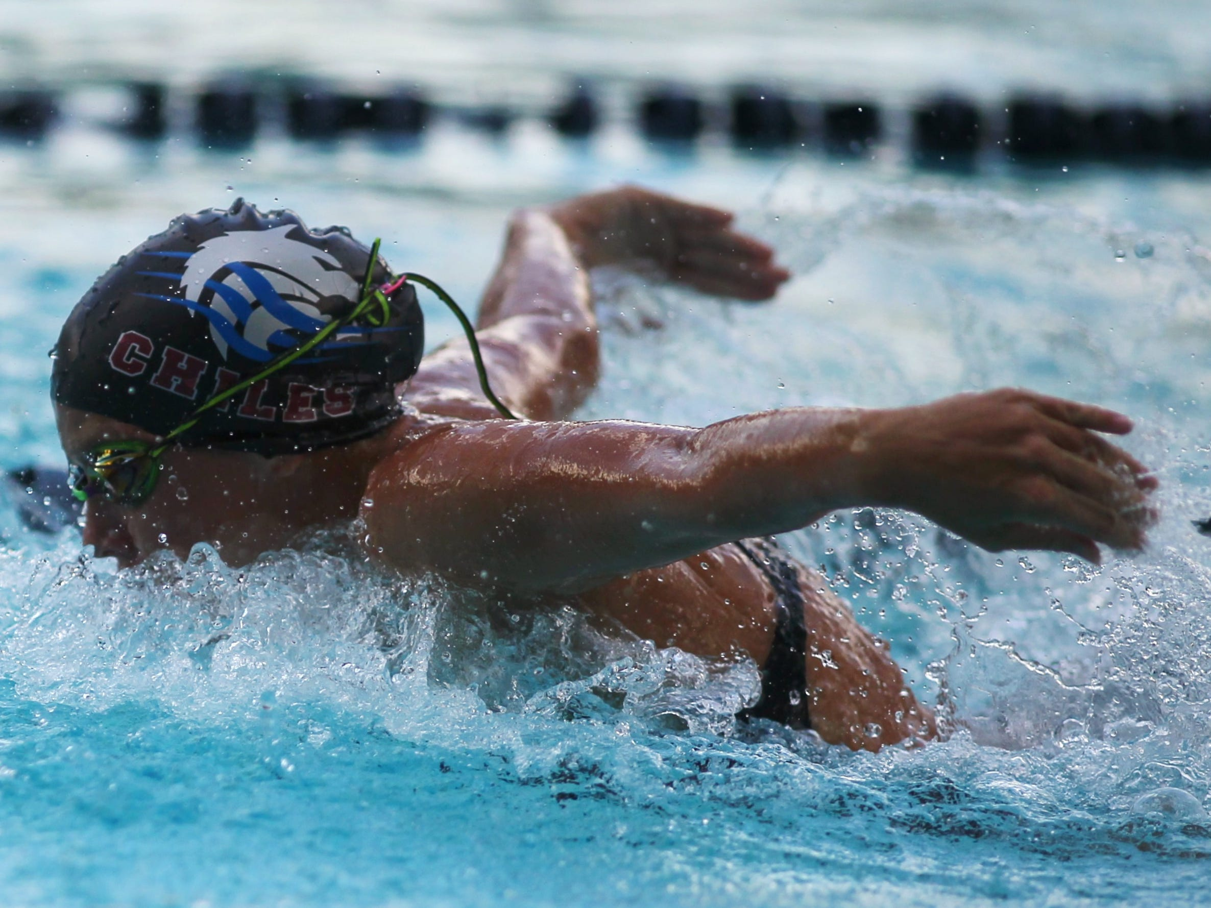 Chiles' Stella Grace Watts swims butterfly in the 200 IM during a recent swim meet.