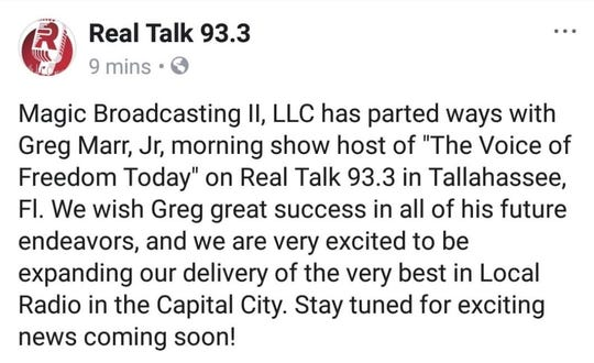 """Magic Broadcasting II announced its plans to """"part ways"""" with popular radio talk show host Greg Marr Jr. The Facebook post was later deleted from the station's page."""