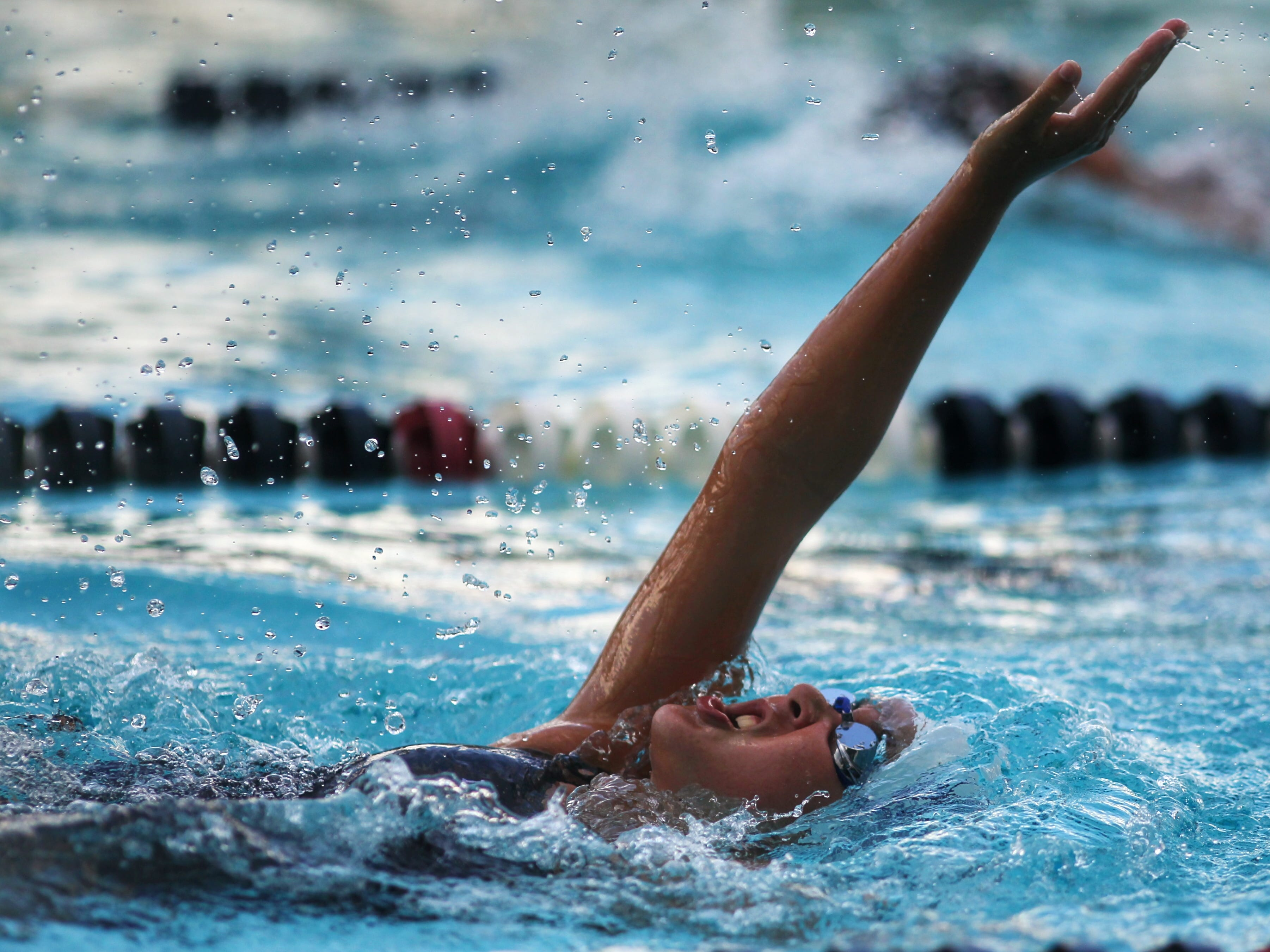 Maclay's Kaitlyn Guyer swims backstroke in the 200 IM during a recent swim meet.