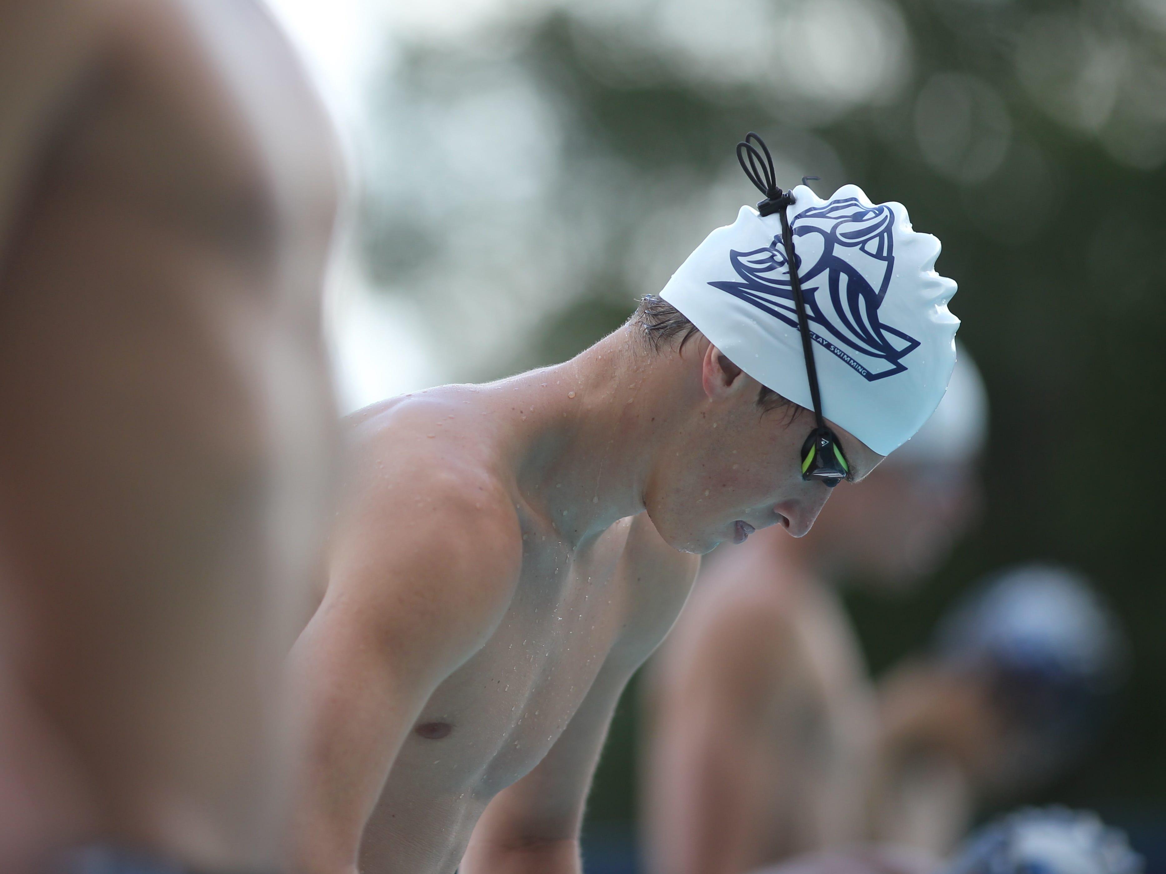 Maclay's Ryan Rumana prepares to swim the 200 IM during a recent swim meet.