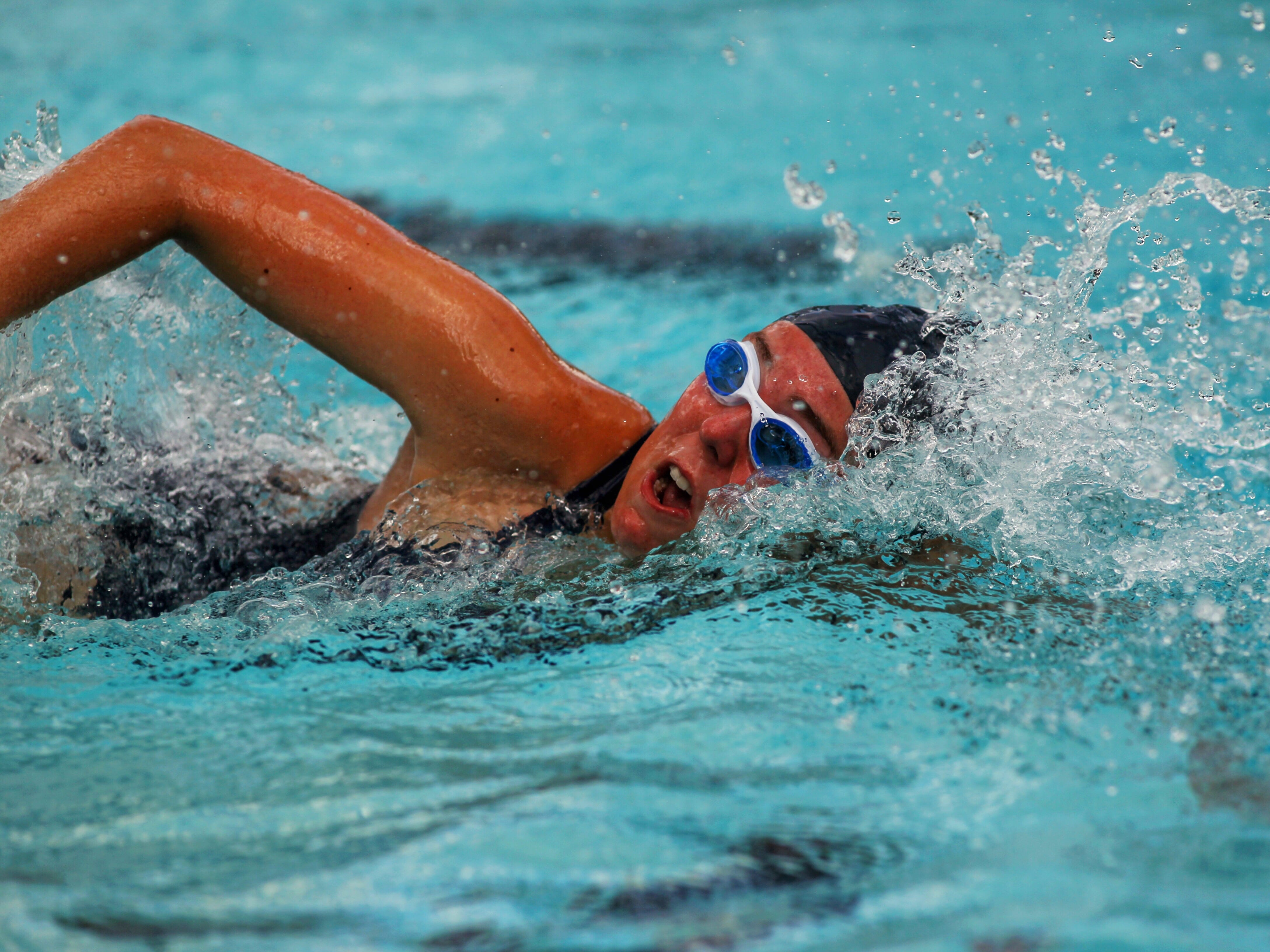 Chiles' Lauren LaBarre swims the freestyle leg of the 200 medley relay during a recent swim meet.