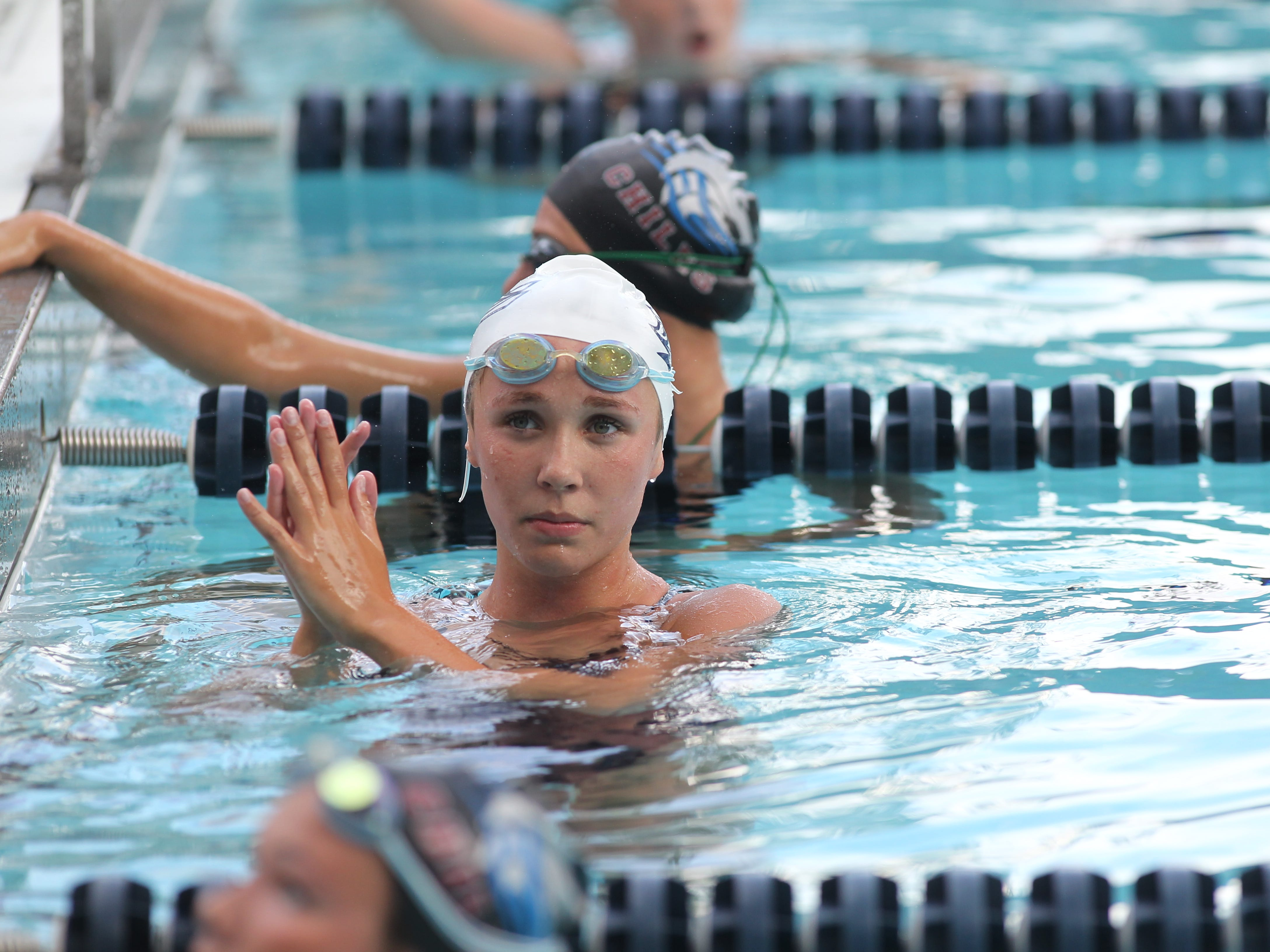 Maclay's Meg Howell after a win in the 200 freestyle during a recent swim meet.