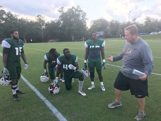 FAMU linebackers coach Ryan Smith explains reads and alignment with players. From left to right: Elijah Richardson, Jibreel Hazly, Doyle Grimes and Zoran Wade.