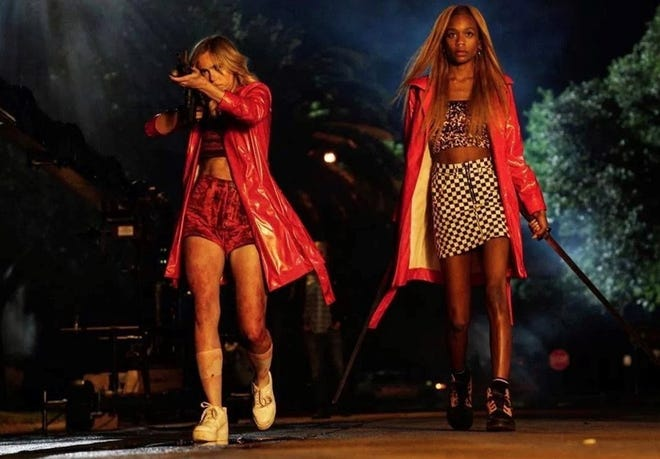 """High school seniors fight back when a hacker targets them in the bloody comedy """"Assassination Nation,"""" opening Friday."""