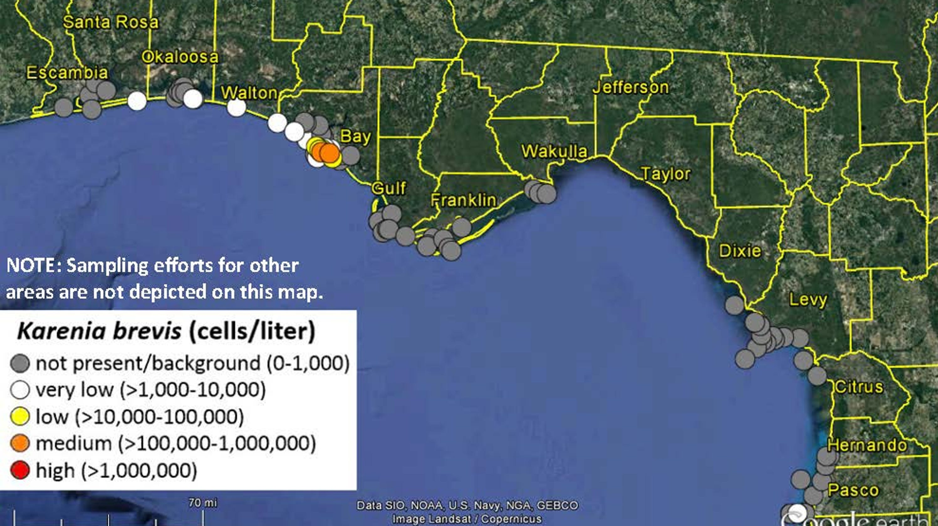 Show Map Of Florida Panhandle.Red Tide Reaches The Panhandle