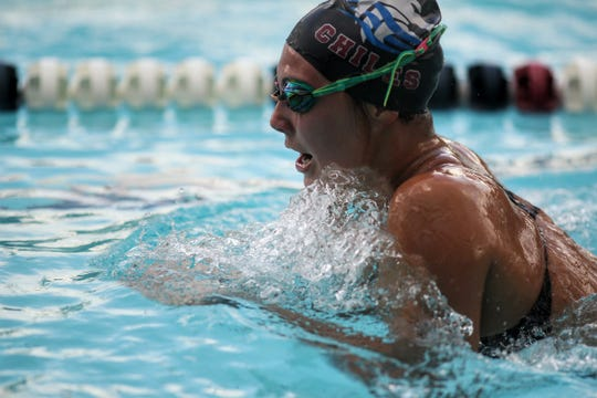 Chiles' Stella Grace Watts swims breaststroke in the 200 IM during a recent swim meet.